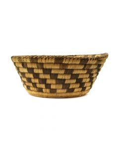 "Pima Basket with Checkered Design c. 1920s, 3.25"" x 8.25"" (SK2922)"