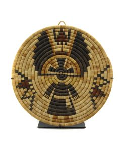 """Hopi Polychrome Coiled Plaque with Crow Mother Kachina Pictorial c. 1940s, 13.5"""" x 12.75"""" (SK2937)1"""