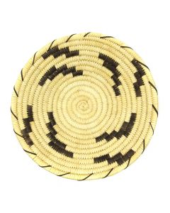 """Tohono O'odham Coiled Plaque with Lightning Pictorials c. 1960s, 2.375"""" x 12.25"""" (SK2972)"""