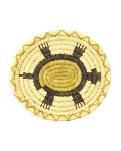 "Tohono O'odham Polychrome Coiled Plaque with Turtle Pictorial c. 1960s, 1"" x 10.25"" x 9.375"" (SK2976)"
