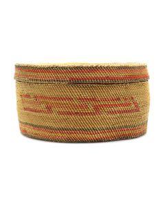 "Makah Polychrome Lidded Basket c. 1900-20s, 3"" x 5.75"" (SK2984)"