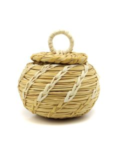 "Tohono O'odham Miniature Gap Stitch Lidded Basket c. 1960s, 3.25"" x 3"" (SK3011)"