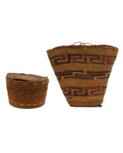 Pair of Tlingit Baskets - 1.) Lidded Rattle Top Basket and 2.) Handled Basket Bag with Geometric Design c. 1900s (SK3021)