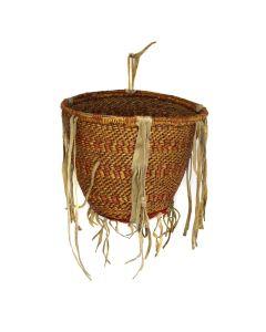 "Apache Burden Basket with Old Trade Cloth c. 1890s, 9"" x 10"" (SK3024)"