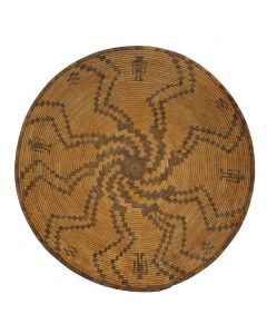 """Large Apache Basket with Human Pictorials c. 1890s, 3.75"""" x 18.75"""" (SK3044)"""