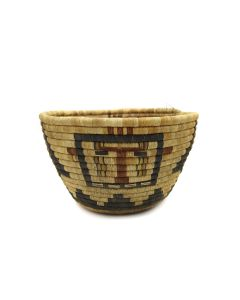 """Hopi Coiled Polychrome Basket with Kachina Pictorial c. 1960s, 6.5"""" x 11.5"""" (SK3063)"""