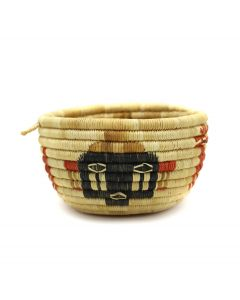 """Hopi Coiled Polychrome Basket with Kachina Pictorial c. 1960-80s, 3.375"""" x 5.75"""" (SK3086)"""
