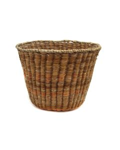 """Hopi Wicker Polychrome Peach Basket c. 1930s, 6.75"""" x 9"""" (SK3098)"""