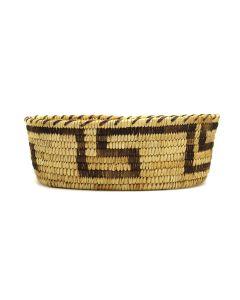 "Tohono O'odham - Coiled Oval Basket with Geometric Design c. 1930-40s, 3.25"" x 10.25"" x 6.5"" (SK3101)"