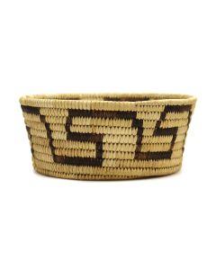 "Tohono O'odham - Coiled Basket with Geometric Design c. 1930s-40s, 3"" x 7"" (SK3102)"