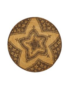 """Apache Plaque with Coyote Tracks and Cactus Blossoms c. 1890s, 16.75"""" diameter (SK3118)"""