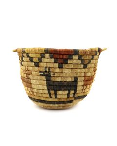 """Hopi Coiled Polychrome Basket with Deer Pictorials c. 1960s, 4.75"""" x 7.25"""" (SK3122)"""