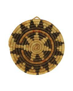 """Hopi Coiled Polychrome Plaque c. 1960s, 7.25"""" x 6.5"""" (SK3124)"""