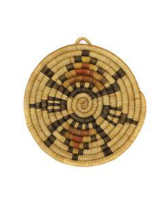 """Hopi Coiled Polychrome Plaque c. 1960s, 7.5"""" x 7"""" (SK3125)"""