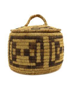"Tohono O'odham Lidded Basket c. 1940s, 7.5"" x 7.5"" (SK90353B-0820-002)"