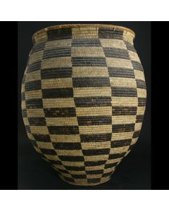 "Large Tohono O'odham Olla with Checkered Design c. 1920s, 26.5"" x 23.5"""