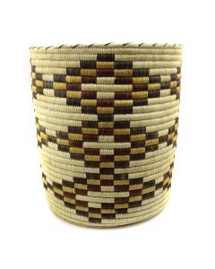 "Tohono O'odham Polychrome Basket with Diamond Designs c. 1980s, 15"" x 13.5"" (SK91138A-0120-017)"