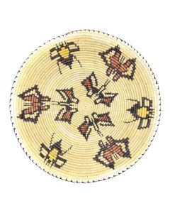 """Navajo Polychrome Tray with Butterfly Pictorials c. 1980s, 2.25"""" x 16.5"""" (SK91138A-0120-018)"""