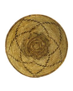 "Tohono O'odham Basket with Star Designs c. 1900s, 3.75"" x 15"""