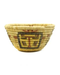 "Hopi Polychrome Basket with Kachina Designs c. 1940s, 5"" x 9"""