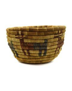 """Hopi Polychrome Basket with Deer Designs c. 1940s, 4"""" x 7"""""""