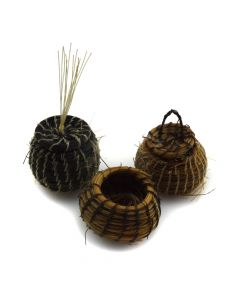 Group of Three Tohono O'odham Miniature Horsehair Baskets c. 1960s