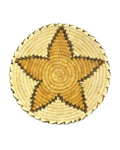 "Tohono O'odham Coiled Tray with Star Design c. 1960s, 2.5"" x 13.25"""