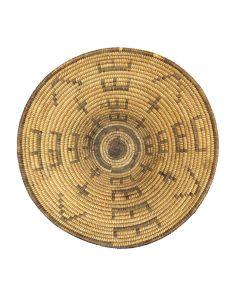 """Pima Basket with E and V Letters and Crosses c. 1900s, 6.25"""" x 15"""" (SK91370A-0521-028)"""