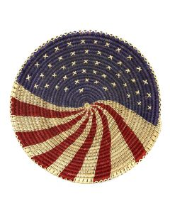 "Mary Black - Navajo Polychrome Coiled Plaque with American Flag Pictorial c. 2000s, 2.25"" x 14.25"" (SK91635A-0320-002)"