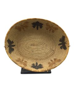 """Mission Polychrome Basket with Butterfly Pictorials and Custom Stand, c. 1900-20s, 2.125"""" x 8.75"""" x 7.25"""" (SK91924-0421-004)"""