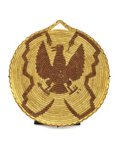 "Tohono O'odham Tray with Handle and Eagle, Snake, and Arrow Pictorial c. 1920s, 13"" diameter"