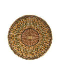 """Hopi Polychrome Wicker Plaque with Checkered Design c. 1920-30s, 13.75"""" (SK91305C-0521-006)"""