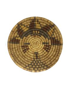 "Hopi Coiled Polychrome Plaque with Mana Kachina Pictorial c. 1930s, 13.75"" diameter (SK91305C-0521-007)"