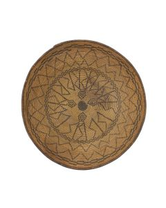 """Apache Basket with Rattlesnake and Coyote Track Designs c. 1890s, 4.25"""" x 14.25"""" (SK91963-0721-007)"""