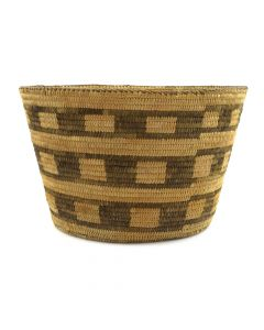 "Pima Basket with Checkered Design c. 1920s, 6"" x 9.75"""