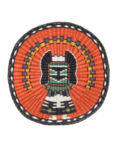 """Hopi Polychrome Wicker Plaque with Crow Mother Kachina Pictorial c. 1980-90s, 16.5"""" x 16"""" (SK92482-0220-002)"""