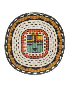 "Hopi Polychrome Wicker Plaque with Sunface Kachina Pictorial c. 1980-90s, 13"" x 12.5"" (SK92482-0220-003)"