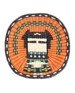 "Hopi Polychrome Wicker Plaque with Kachina Pictorial c. 1980-90s, 15"" diameter (SK92482-0220-004) 3"