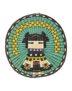 "Hopi Polychrome Wicker Plaque with Kachina Pictorial c. 1980-90s, 14.25"" x 13.75"" (SK92482-0220-005)"