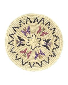 """Contemporary Navajo Polychrome Coiled Plaque with Butterfly Pictorials, 1.75"""" x 12"""" (SK92482-0220-011)"""