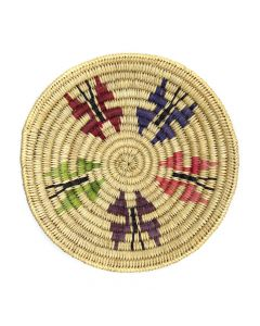"""Navajo Polychrome Coiled Plaque with Butterfly Pictorials c. 1980s, 1"""" x 6.5"""" (SK92482-0220-015)"""