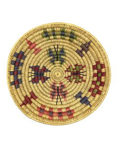 """Navajo Polychrome Coiled Plaque with Butterfly Pictorials c. 1980s, 1.5"""" x 9"""" (SK92482-0220-020) 1"""