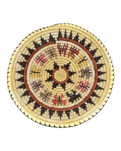"""Navajo Polychrome Wedding Basket with Butterfly Pictorials c. 1980-90s, 3"""" x 14.25"""" (SK92482-0220-025)"""