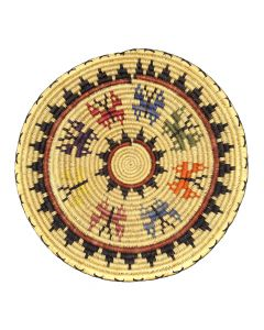 """Navajo Polychrome Wedding Basket with Butterfly Pictorials c. 1980-90s, 2"""" x 14"""" (SK92482-0220-026)"""