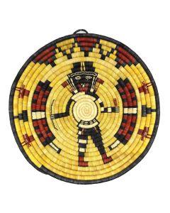"Hopi Polychrome Coiled Plaque with Kachina Pictorial c. 1980-90s, 14.25"" diameter (SK92482-0220-028)"