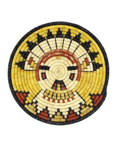 "Hopi Polychrome Coiled Plaque with Kachina Pictorial c. 1980-90s, 14.75"" diameter (SK02482-0220-029)"
