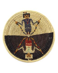 """Navajo Polychrome Coiled Tray with Father Sky Mother Earth Pictorial c. 1980-90s, 2.25"""" x 13.5"""" (SK92482-0220-031)"""