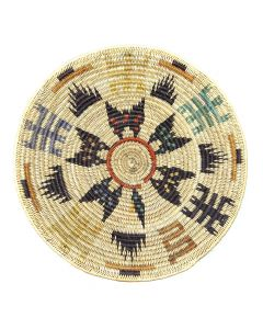"""Navajo Polychrome Coiled Basket with Snake, Lizard, and Butterfly Pictorials c. 1980-90s, 2.25"""" x 18"""" (SK92482-0220-033)"""