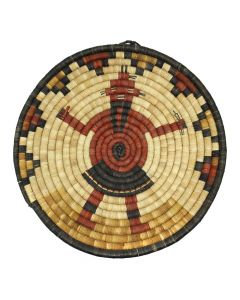 "Hopi Polychrome Coiled Plaque with Mudhead Kachina Pictorial c. 1980-90s, 13"" diameter (SK92482-0220-037) 1"