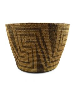 "Pima Basket with Geometrical Design c. 1910-20s, 9.25"" x 13"""